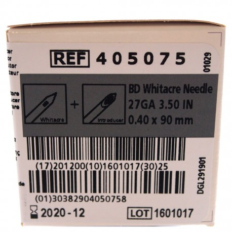 AGUJA WHITACRE 27GA 3,50 IN C/INT GRIS C/25